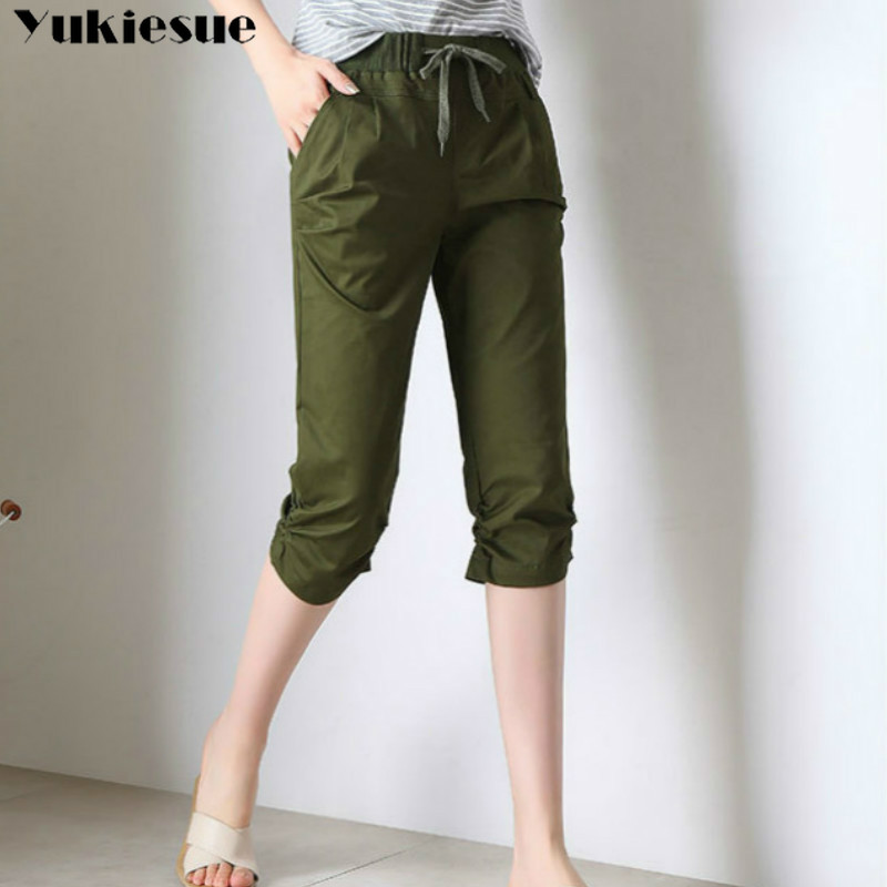 streetwear Women's Plus Size S-XXXL Summer high Waist elastic   pants     Capris   for women harem   pants   female trousrs half length