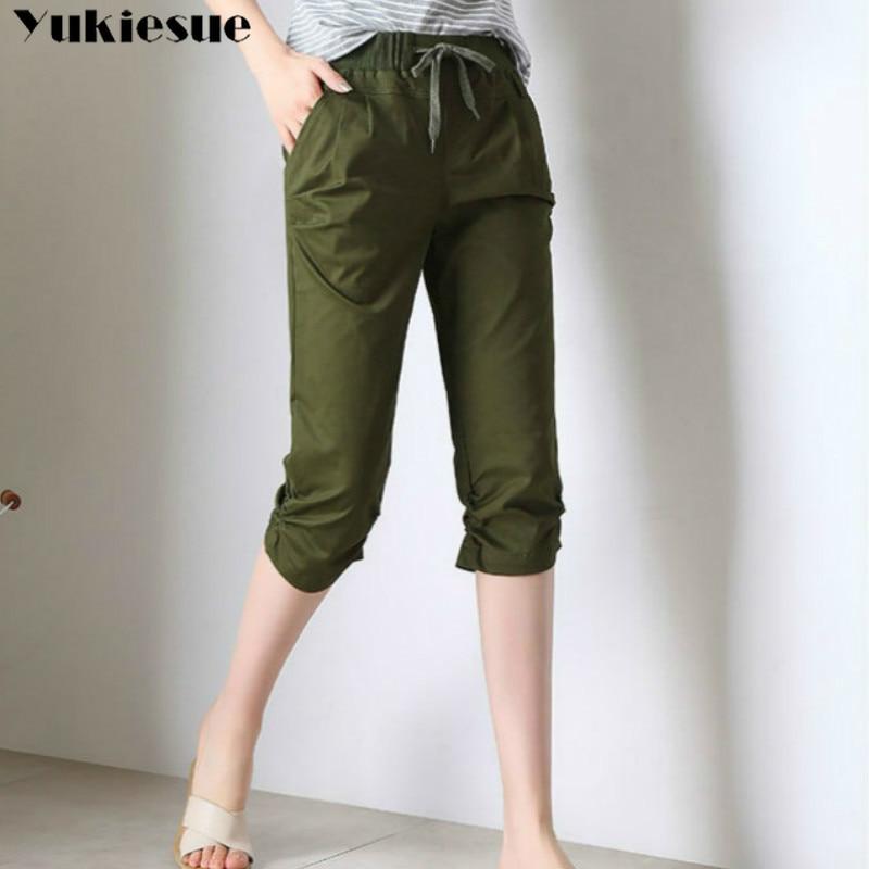 streetwear Women's Plus Size S-XXXL Summer high Waist elastic pants Capris for women harem pants female trousrs half length