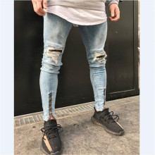 Mens hi street patches distressed zipper on button slim fit rock Jeans pants