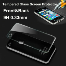 2014 NEW 0.33mm Front and Back Premium Tempered Glass Screen Protector Protective Film for iPhone 4 4s Free Shipping