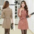 Аутентичные весна женщины марка плащ пальто двубортная средний - длинная приталенный плащ верхняя одежда / M-3XL