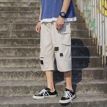 Brand New Calf-Length Pants Hole Multi-Pockets Mens Elastic Waist Straight Large Sizes