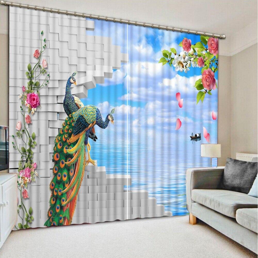 Пользовательские 3D современные шторы Павлин поверхности моря 3D кухня Гардины Короткие 3D шторы для спальни гостиной фото шторы