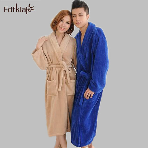 High Quality new 2017 autumn winter bathrobes couples plus size long women robe flannel thickening men's gown robes M-3XL A773
