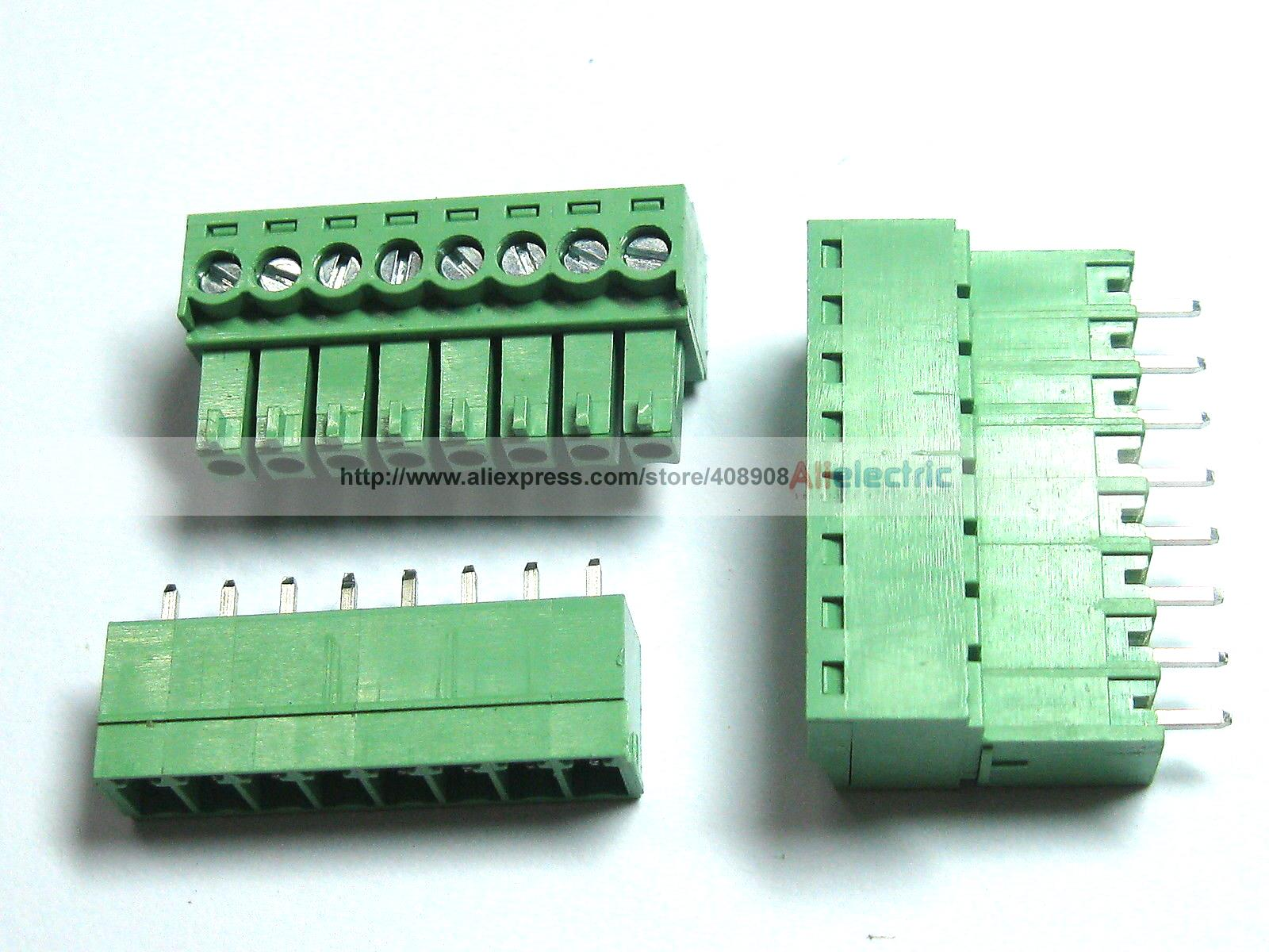 12 Pcs Screw Terminal Block Connector 3.5mm 8 Pin Way Green Pluggable Type цена