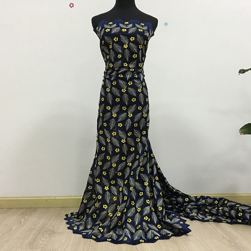 High Quality African Swiss Voile Lace 068 Navy Blue + Yellow, Free Shipping 5 yards/pack, 100%cotton African Lace Trim Dress