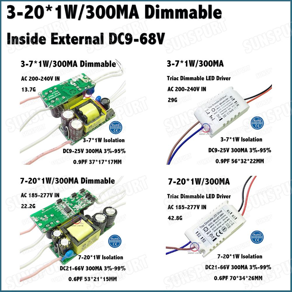 3-10 Pieces LED Driver SCR Dimmable Isolation 3-20W 3-7x1W 7-20x1W 300mA DC9-68V Inside External Constant Current Free Shipping