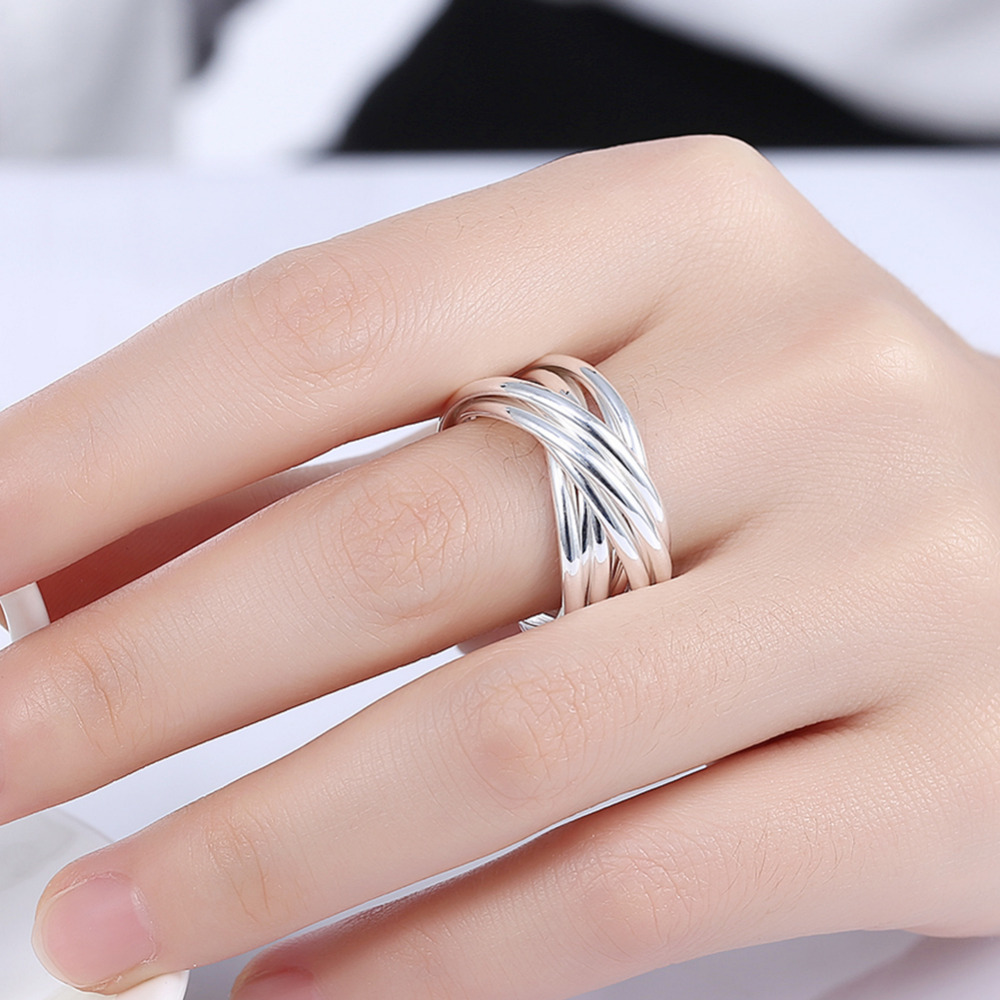 Unique Multilayer Cross Metal Plated Silver Round Rings Punk Rock ...