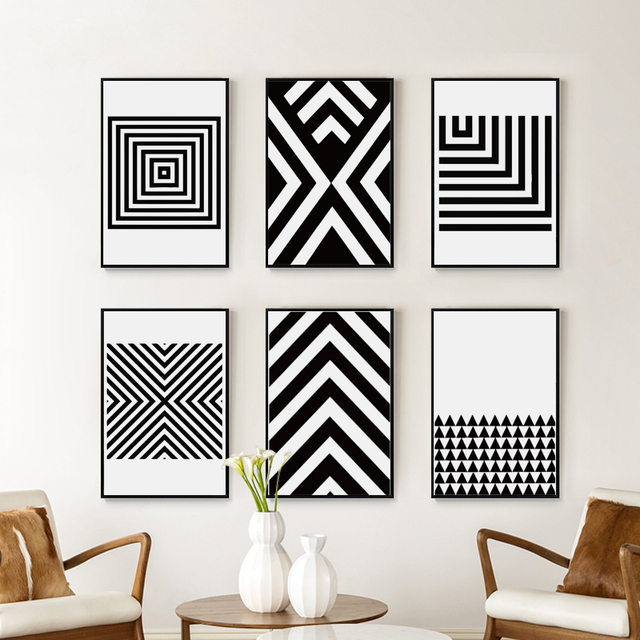 Black and White Abstract Geometric Pattern Canvas Art