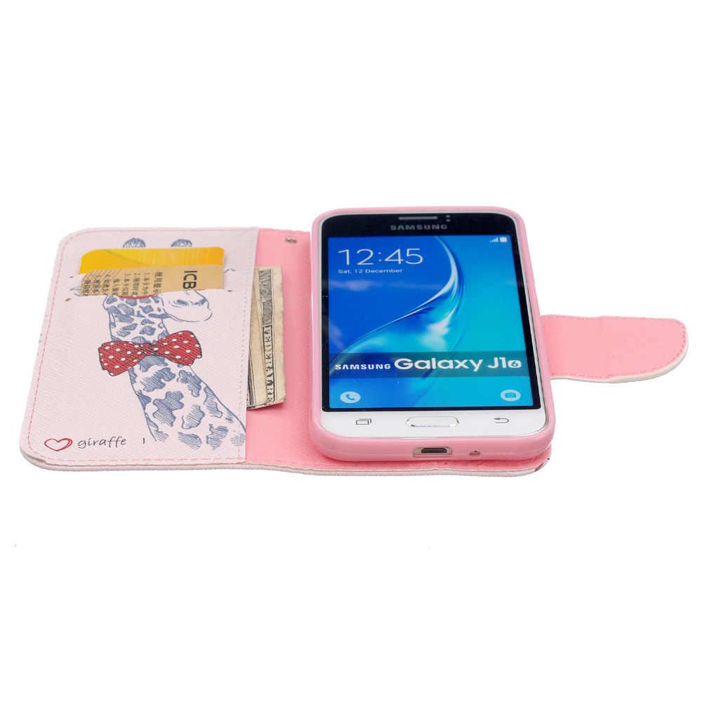 Для Samsung Galaxy J1 2016 J120F SM-J120F J120 Телефон Дело фолио Цветок Живопись Животное Бумажник Стенд Флип PU Кожаный Чехол случаях