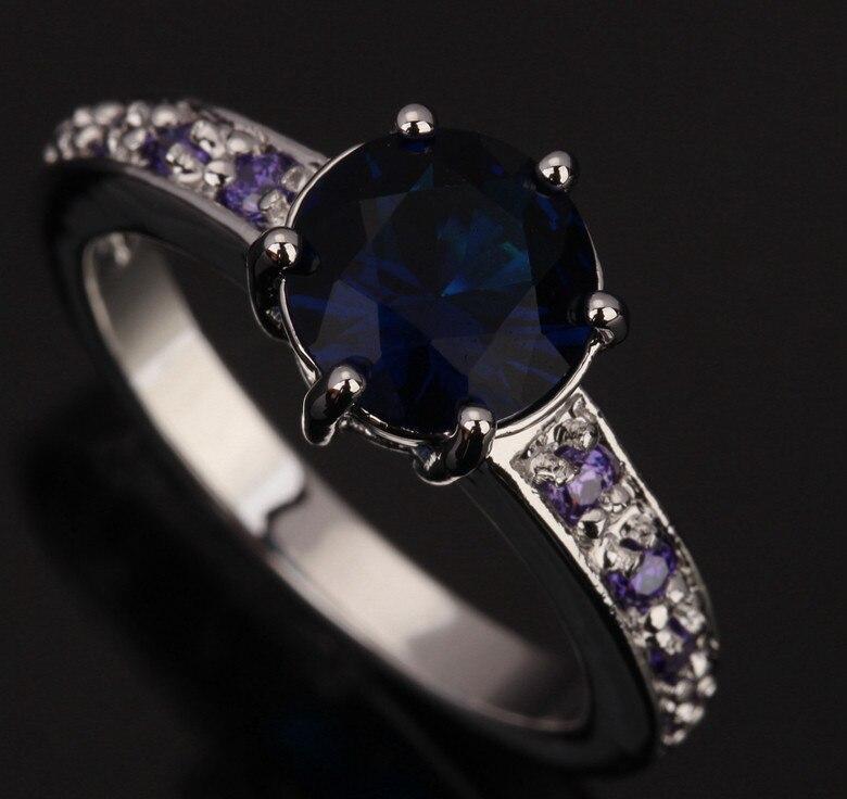 475238f046ed Atractivo Lindo Azul Gemas de Joyería Cubic Zirconia 925 Moda de Las  Mujeres de plata Jewelrys Anillos Tamaño 6 7 8 9 S0385