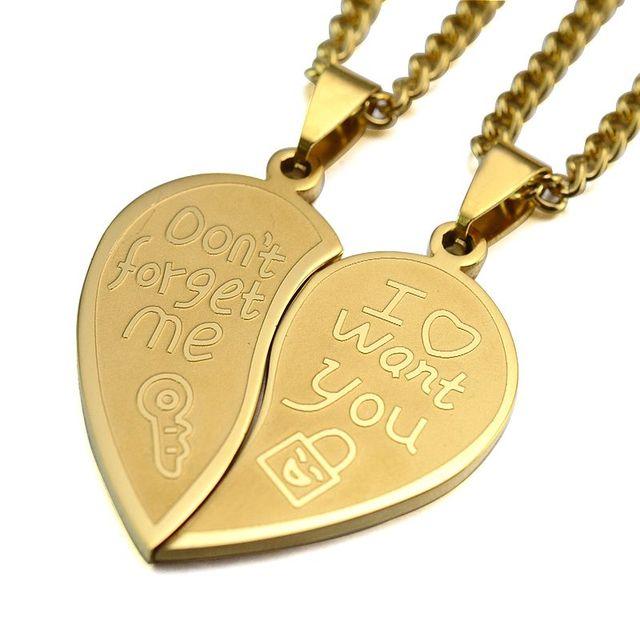 Gold Tone Men Women His Her Couples Heart Symbol Love Lock Key