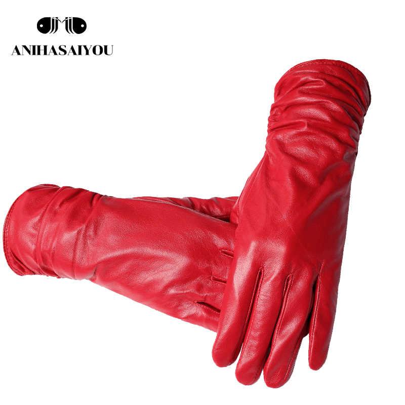 2019 ファッション新製品冬革手袋ショート革手袋女性手首締め付けデザイン冬の革手袋女性