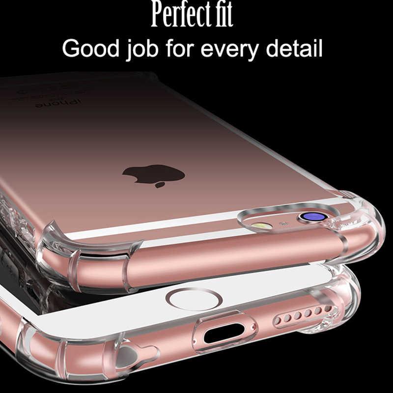جراب هاتف جديد لهاتف آيفون 7 Plus مضاد للخبط شفاف سميك ناعم من البولي يوريثان لجوال أبل آيفون X 5 5s SE 6 6s Plus 7 8 Plus