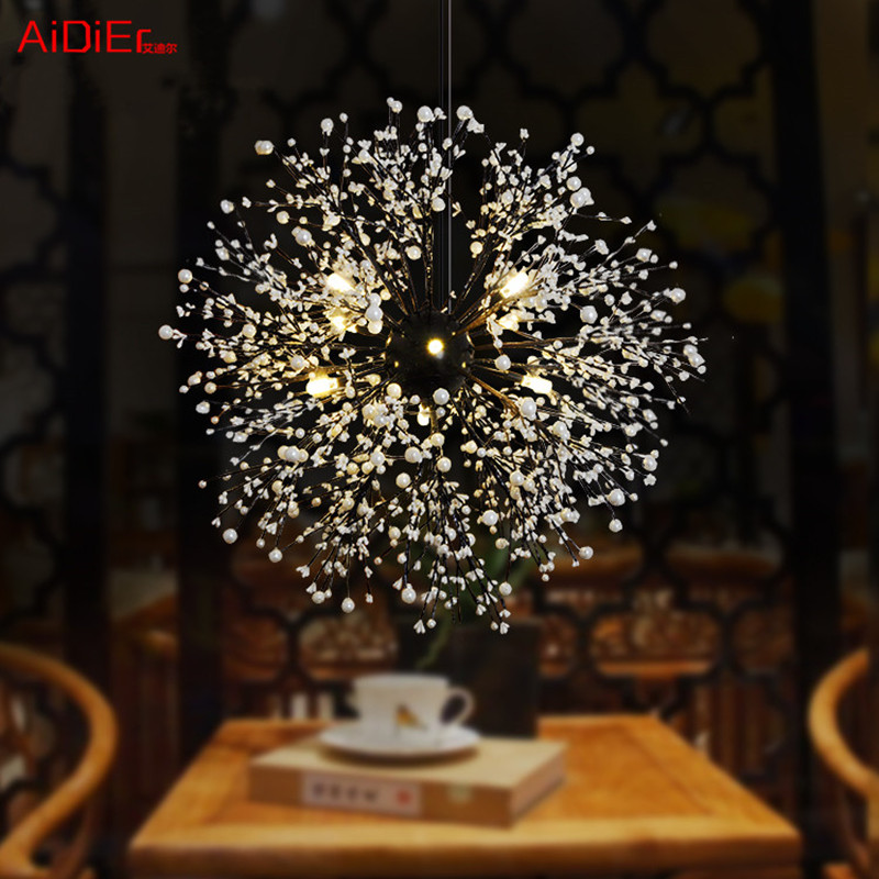 Wrought iron chandeliers industrial style personality retro hotel restaurant cafe fireworks chandelier lighting industrial vintage wrought iron chandelier hemp rope lamps fabric lampshade d35cm d40cm d45cm art restaurant cafe room lighting