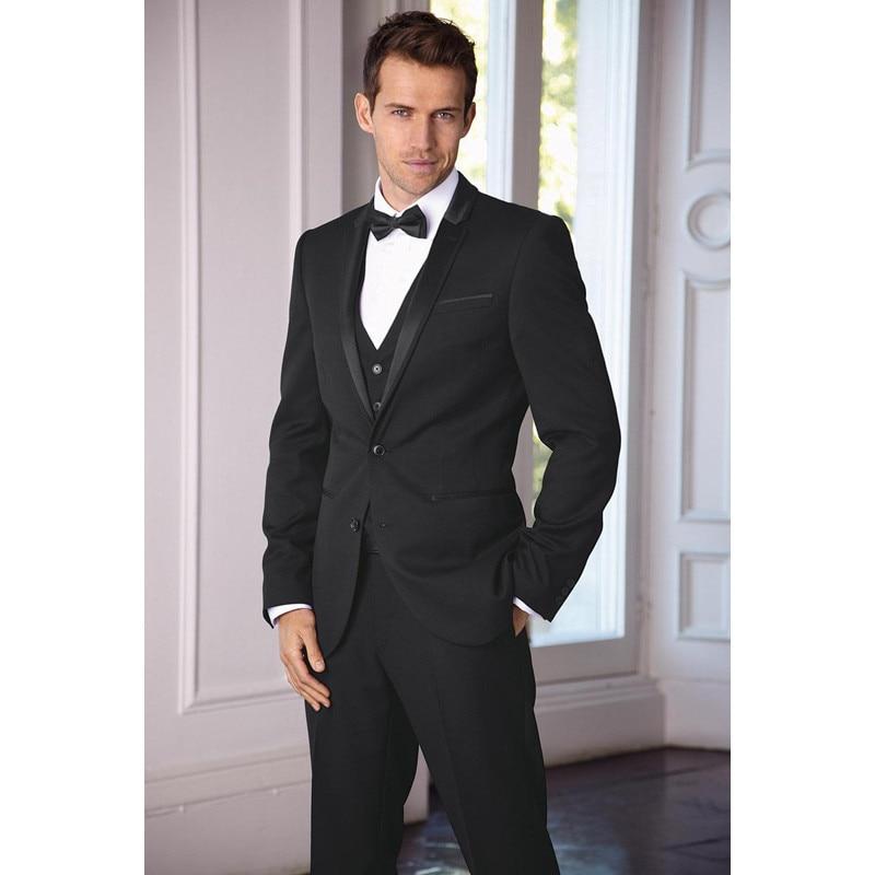 New Arrival Classic Grooms Tuxedos Black Wedding Suits For Men Notched Lapel Men Suits One Button Slim Fit