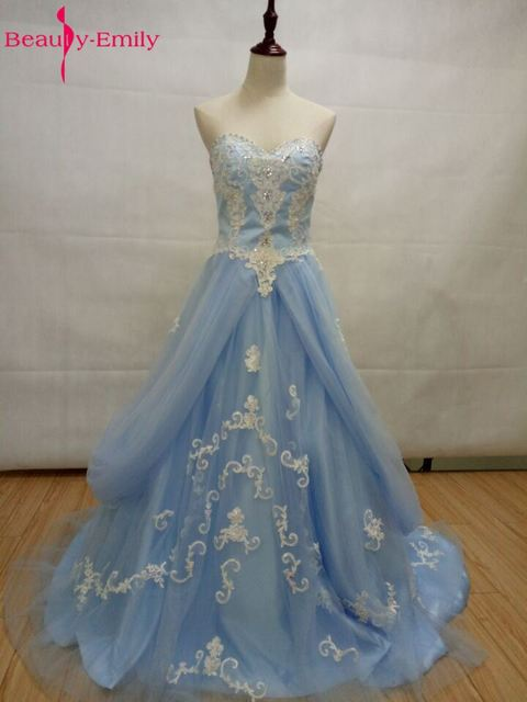 Beauty Emily Sky Blue Appliques Tulle Wedding Dresses 2017 Long ...