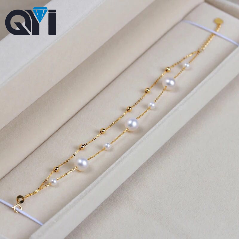 все цены на QYI 18K Yellow Gold Natural Cultured Freshwater Pearl Bracelet Wholesale Real Pearl Gold Bracelet Women Party Jewelry Customizab онлайн