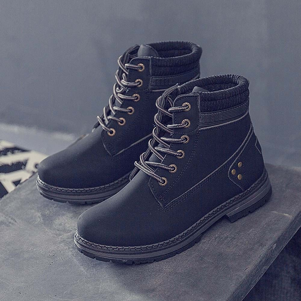 Women Boots Solid Lace Up Casual Ankle Boots Round Toe Shoes Student Snow Boots Classic Winter Warm Ladies Shoes T## 22