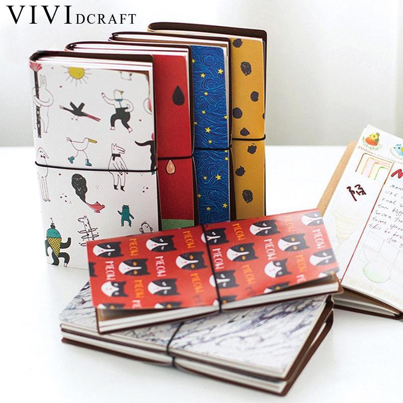 Vividcraft Japanese Creative Kawaii Cute Cartoon DIY Notebook Leather Bound Travel Journal Diary Planner Agenda Gifts Caderno