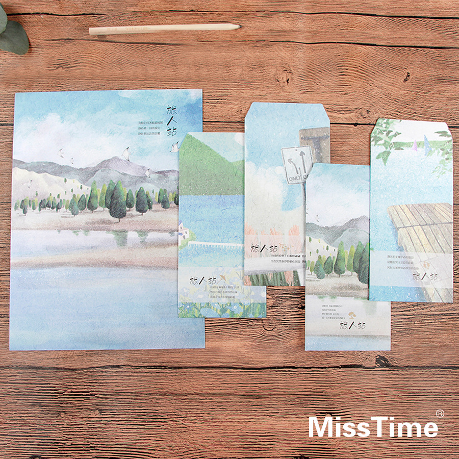 9pcs/Set 3 Envelopes + 6 Writting Paper Creative Traveller Station Series Envelope For Gift Korean Stationery