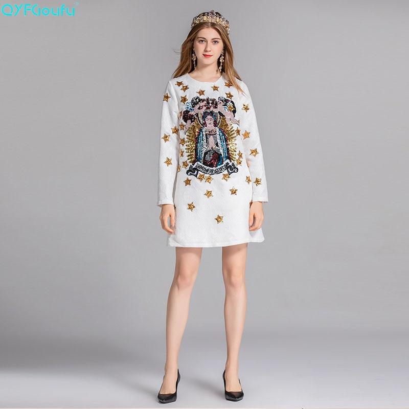 blanc Robe Magnifique Vintage 2018 Femme Paillettes Rétro D'été De Imprimé Mode Noir Défilé Nouveau Manches Diamants Qyfcioufu Longues Lettre xqSwAXPUP