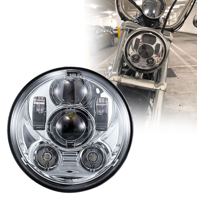 For Indian Scout Light Dot Emark 5.75 Led Headlight With Drl Halo Ring Motorcycle Drl Headlamp For Motorcycle Iron 883 Headlight