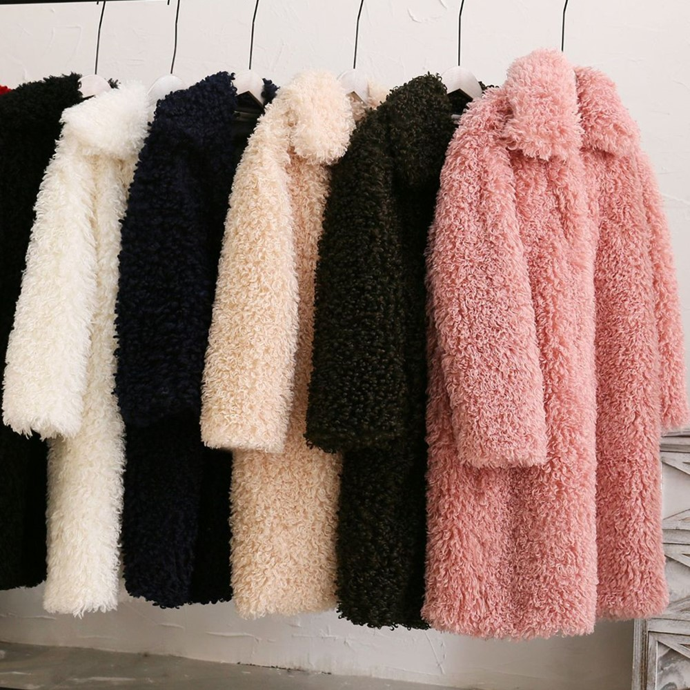 GTGYFF Fall winter medium long lamb faux fake fur jacket coat with collar women artificial jackets coats outerwear oversize top