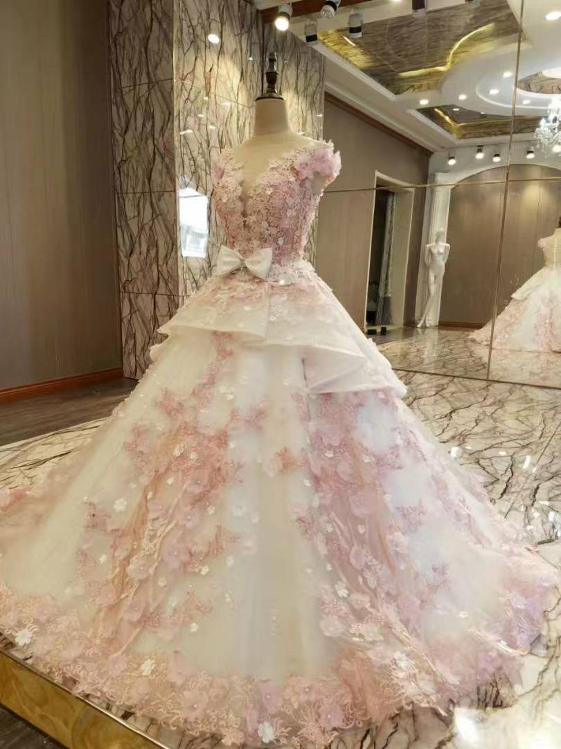 100 Real Photos Amazing High End Wedding Dress Lace Liques Flowers Bridal Ball Gown Long Train In Dresses From