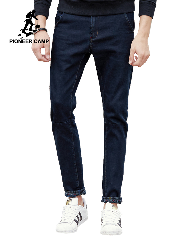 Pioneer Camp New black thick   jeans   men brand clothing solid fashion male denim pants quality autumn winter denim trousers 611045