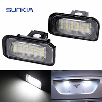 2Pcs Set SUNKIA No Error LED Number License Plate Light Kit White For Mercedes Benz W203
