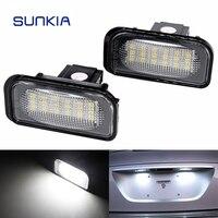2Pcs Set SUNKIA No Error LED Number License Plate Light Kit White For Mercedes Benz W203