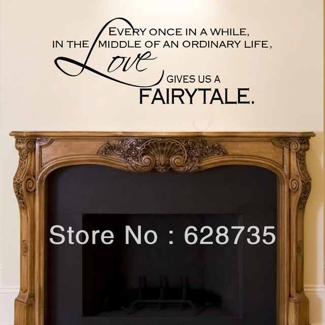 Love Gives Us A Fairytale  Wall Stickers Bedroom Decor ,vinyl Art Fireplace  Wall Decal Part 36
