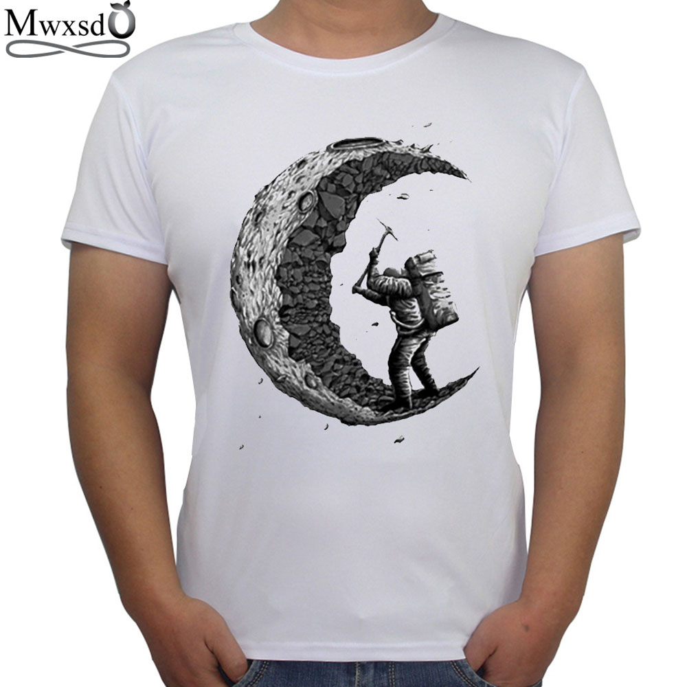 Mwxsd summer fashion digging the moon design short sleeves for T shirt printing custom design