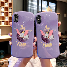 Cute Cartoon Dumbo Phone Case For iphone 6 6s 7 8 Plus X XS MAX XR Fashion Dreamy fly moon elephant soft silicone Cover Fundas
