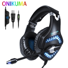 ONIKUMA K1 PRO PS4 Gaming Headset Casque Wired PC Stereo Earphone Headphone with Microphone for New Xbox One/Laptop Tablet Gamer gaming headset ps4 casque gamer headset xbox one headset gaming headphone for computer with microphone splitter adapter cable