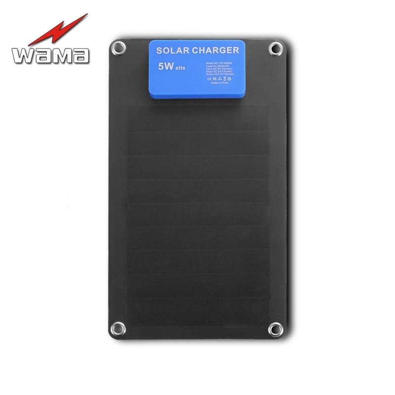 1x Wama Solar Charger 5W Solar Panels Power Bank 2600mAh Batteries USB Outdoors Adopt SUNPOWER Panel