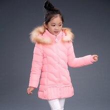 2016 NUEVA llegada caliente de la muchacha de algodón piel real abrigo jakcet niños invierno outwear abrigo niños chaqueta de invierno Nuevo de Alta calidad