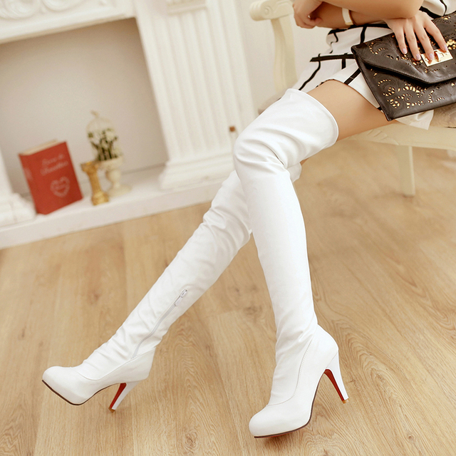 Women boots 2014 autumn winter ladies fashion red bottom over the knee thigh high boots Soft leather long boots big size 31-43