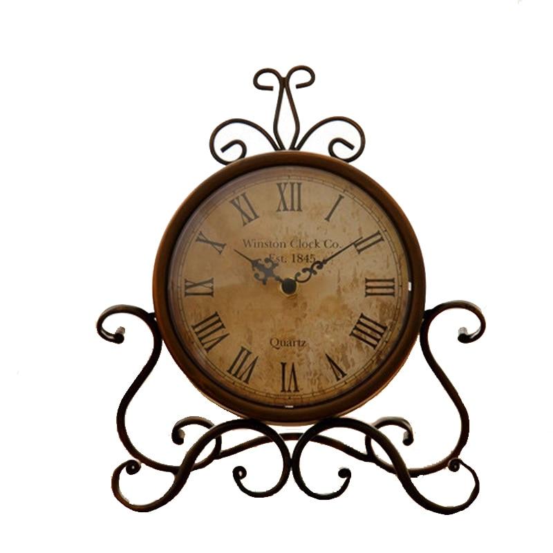 Vintage DIY Quartz Silent Alarm Clock Glass Cover Creative Crafts Roman Clock Rooms Mute Needle Table Clock Household Wall Decor
