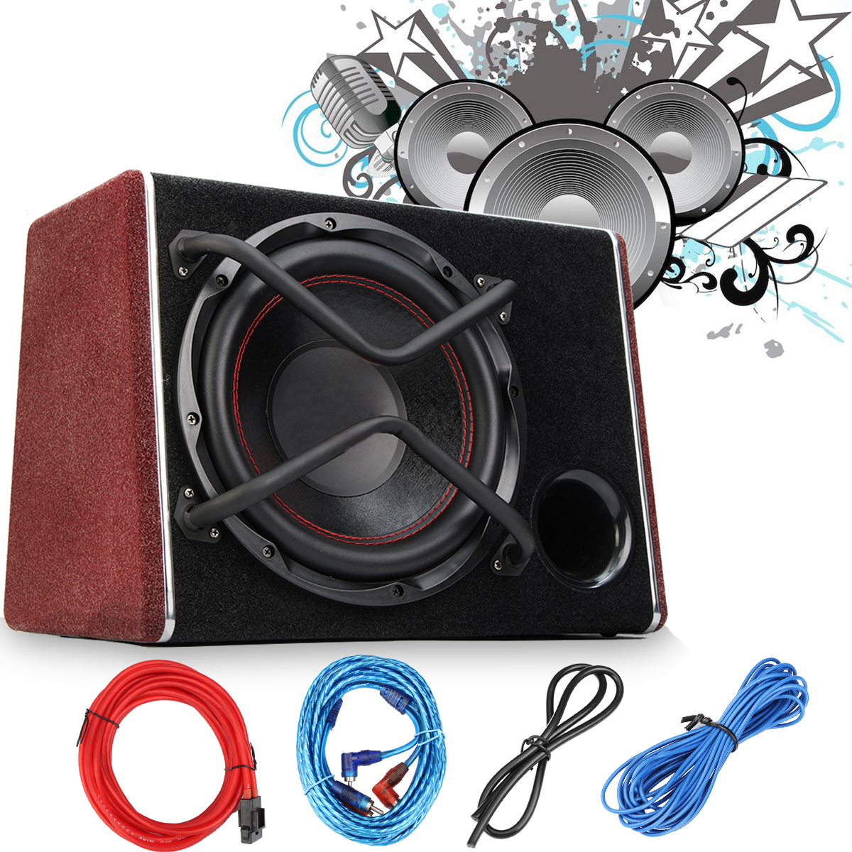 1200W Car Subwoofer Audio Active Sub Woofers Auto Car Sub Woofers Vehicle High Power Amplifier Speaker Car Audio Speaker