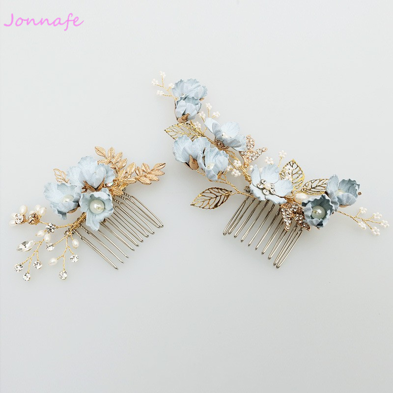 Jonnafe Blue Flower Hair Comb Bridal Pins Pearls Wedding Jewelry Hair Vine Accessories Women Headpiece jonnafe handmade red flower wedding prom hair clip jewelry gold leaf bridal hair accessories comb headpiece