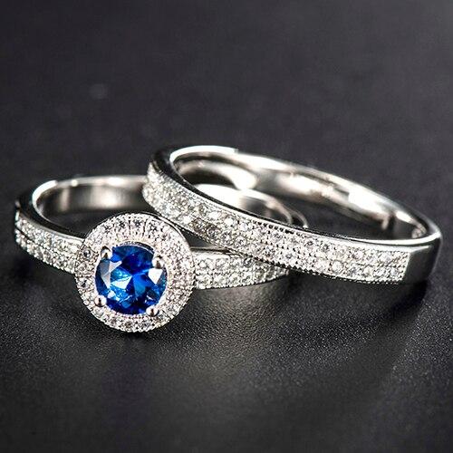 Новые модные женские 2 предмета Циркон Свадебные Обручение Пара Обещание Кольца комплект a572