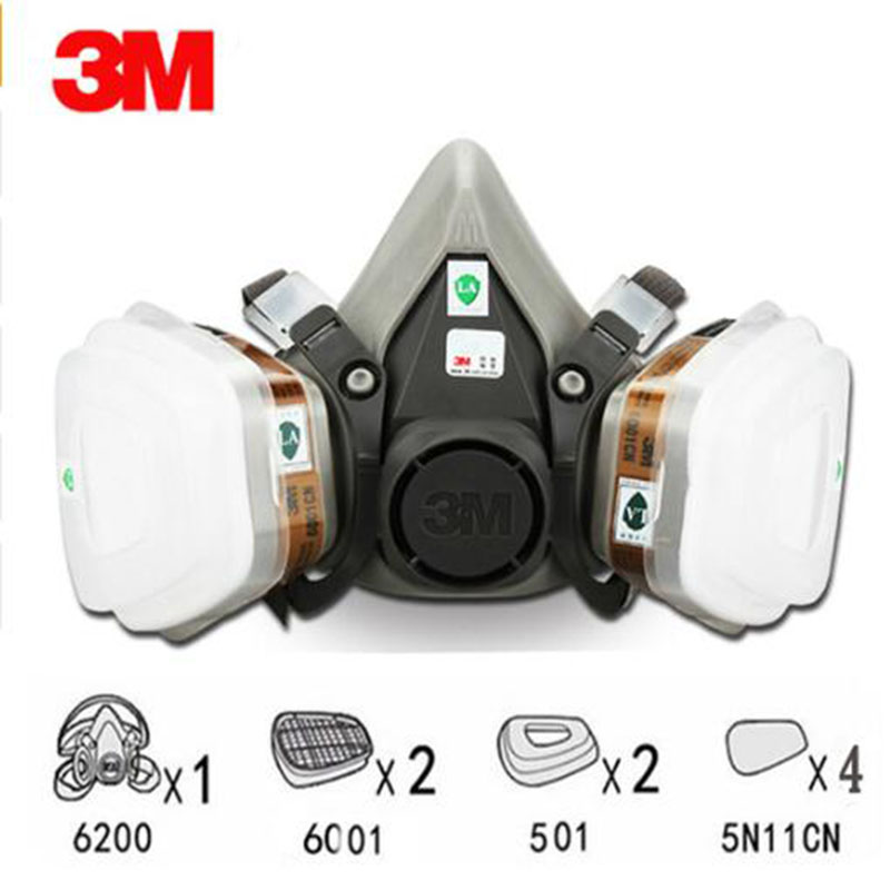 9 in 1 Suit Half Face Gas Mask Respirator Painting Spraying Dust Mask For 3 M 6200 N95 PM2.5 gas Mask 11 in 1 suit 3m 6200 half face mask with 2091 industry paint spray work respirator mask anti dust respirator fliters