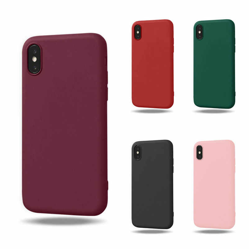 Candy Color Case on For Coque iphone 6 6 S Case Soft TPU Back Cover For iphone 6S 7 8 Plus X XR XS Max Case Cover Phone Casa