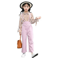Spring Princess Children Girls Clothing Set Plaid Blouse + Overalls Jeans Pants 2pc Baby Girls Clothe Set Suits Girls Tracksuits