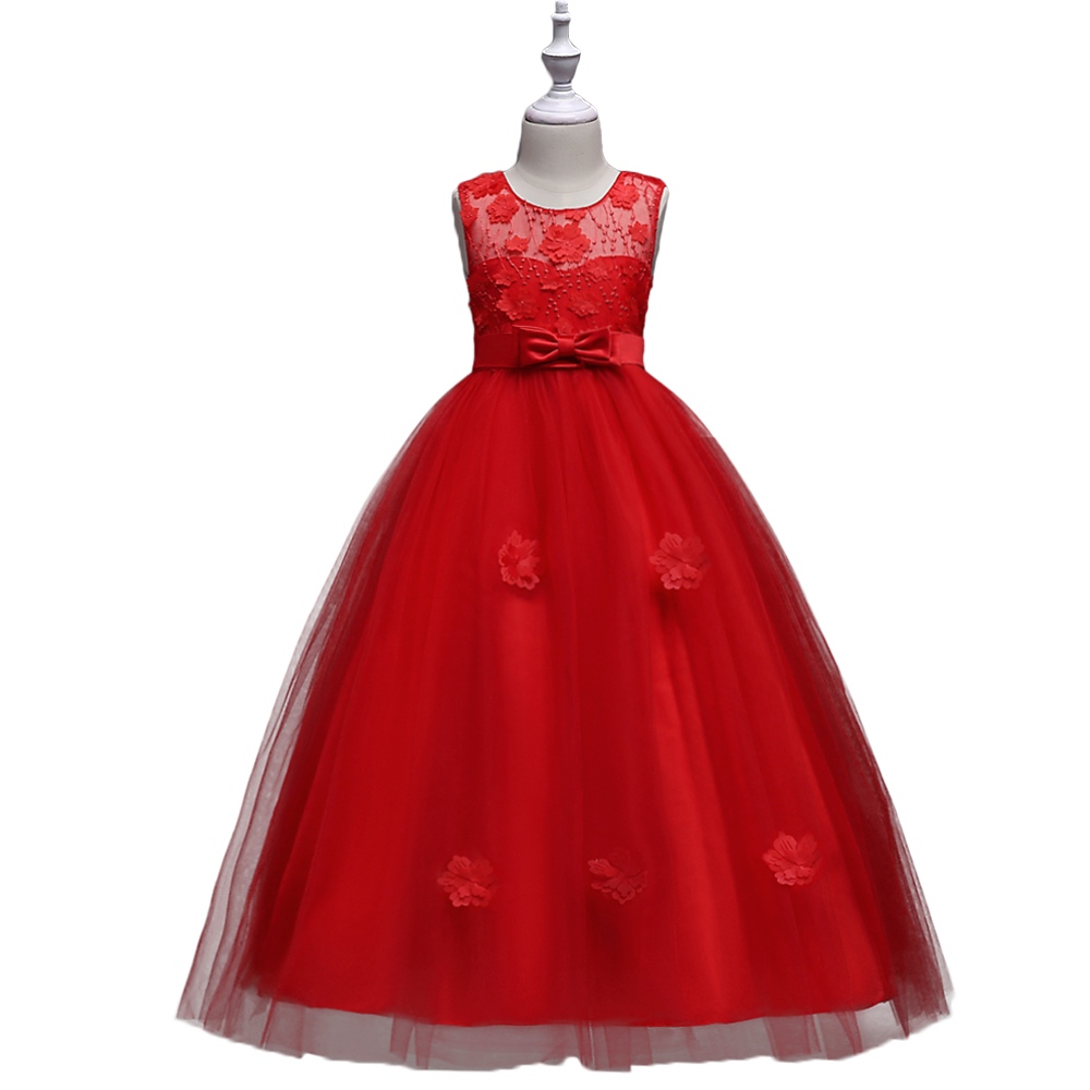 BAOHULU Princess Long Girls Pageant Dress Flower Summer Dresses Kids Prom Puffy Tulle Ball Gown Party Wedding Costume Vestidos princess children girls dress printed ball gown long sleeve kids party dresses l16