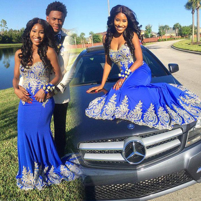 Hot Sale Royal Blue Mermaid Prom Dress For Black Girls Party 2017