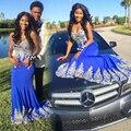 Venda quente Azul Royal Mermaid Prom Dress For Girls Party Preto 2017 Prata Personalizado Lace Appliqued Long Prom Vestidos Vestidos de Celebridades
