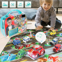 7pcs/lot pull car back with Map City Parking Road map Alloy Toy Model Car toy Gift for Kids Education learning toys with box